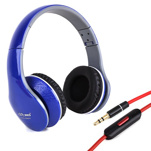 Blue Pc Laptop Mp3 3.5Mm Stereo Wired Headphone Headset With Microphone For Skype,Msn,Yahoo, Handy, Ipad, Iphone, Samsung,Htc,Epad, Apad Adjustable