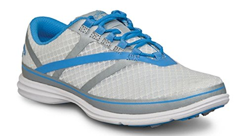 Callaway Footwear Women's Solaire SE Golf Shoe, White/Silver/Blue, 8 M US