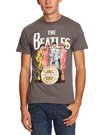 The Beatles Sgt Pepper Charcoal Mens T-Shirt Small
