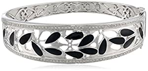 Sterling Silver Diamond Black Enamel Bangle Bracelet (1/3 cttw)