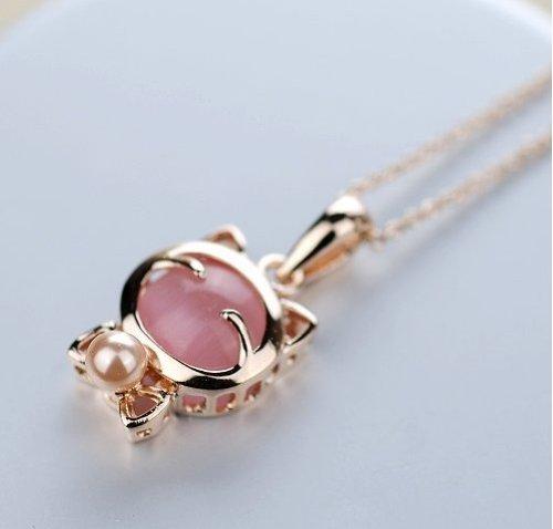 Glückliche Katze Katze rosa Auge Stein Bogen Perlenkette Weihnachten
