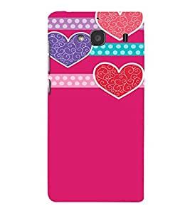 Pink Hearts Love Cute Fashion 3D Hard Polycarbonate Designer Back Case Cover for Xiaomi Redmi 2S :: Xiaomi Redmi 2 Prime :: Xiaomi Redmi 2