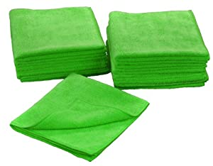 Eurow Microfiber 16 x 16 in. 300 GSM Cleaning Towels 12-Pack (Green) by Eurow & O'Reilly Corp.