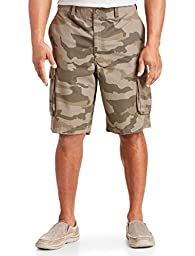 True Nation Big & Tall Ripstop Cargo Shorts (50, Brown Olive Camo)