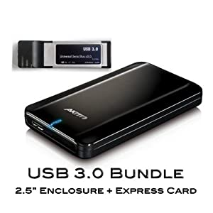 "BACK TO SCHOOL SALES! Super Speed USB3.0 Bundle Akitio FD2500U3 2.5"" Slim Light Portable Hard Drive Enclosure + Express Card"