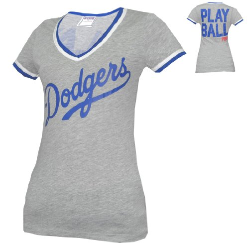 683e1f9f4ce WOMENS Pink Victoria s Secret MLB Los Angeles Dodgers V-Neck T Shirt - Grey  (
