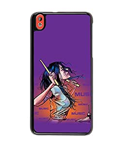 Fuson Music Lover Girl Back Case Cover for HTC DESIRE 820 - D3921