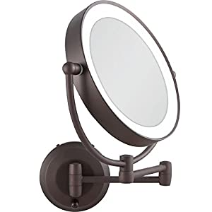Zadro 10x Mag Next Generation Cordless LED Lighted Double Sided Round Wall Mirror, 7-Inch, Oil-Rubbed Bronze Finish
