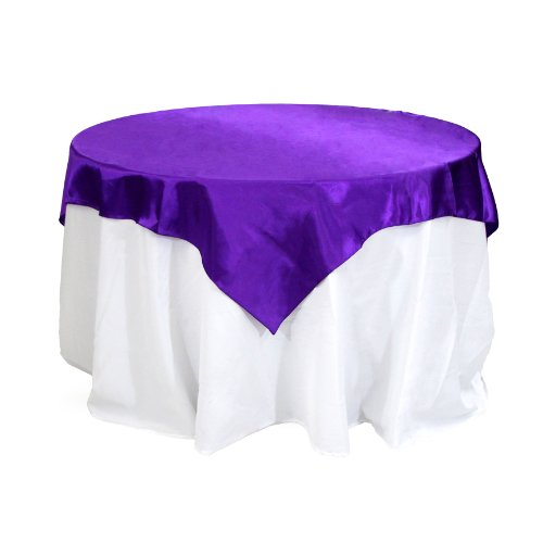 Koyal Wholesale Square Satin Overlay Table Cover, 72 By 72-Inch, Purple