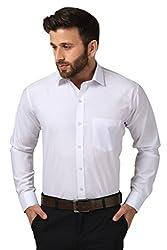 Mesh Full Sleeves Casual Cotton Blend Shirt for Men's/Boy's (White) -42