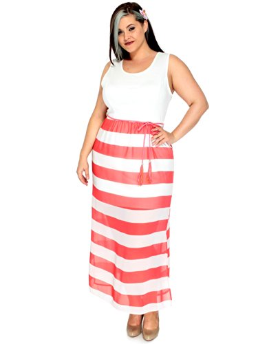 Simplicity Plus Queen Size Beach Vacation Summer Dress, White/Coral, 3Xl front-776208