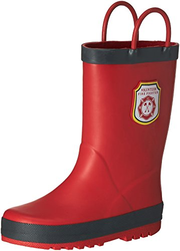 carter's Boys' Fire Rain Boot, Grey/Red, 11 M US Little Kid