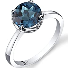 buy 14K White Gold London Blue Topaz Solitaire Ring 2.25 Carat Checkerboard Cut