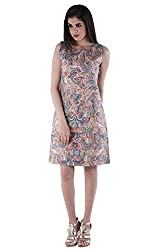 AARR pink printed A-line knee length sleeveless boat neck cotton dress