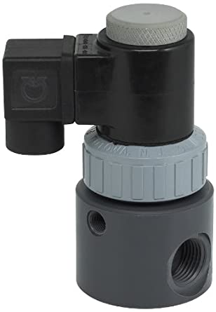Plast-O-Matic EAST Series PVC Solenoid Valve, For Corrosive and Ultra-Pure Liquids, 2 Ways, Normally Closed, Viton Diaphragm, NPT Female