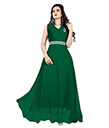 Vadaliya Enterprise Women's Velvet + Net Green Gown