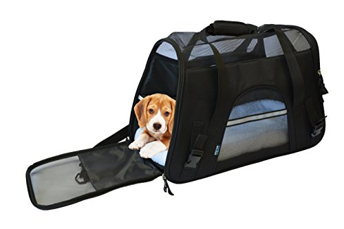 KritterWorld 19-Inch Large Soft Sided Pet Carrier Comfort Airline Approved Travel Tote Shoulder Bag for Small Dogs Cats Small Animals Tote w/ Seat Belt Buckle & Removable Fleece Bed – Black