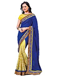 AG Lifestyle Blue & Yellow Chiffon Saree With Unstitched Blouse ASL807