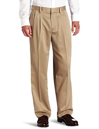 d0f09799b63458 Dockers Men's Never-Iron Essential-Khaki D4 Relaxed-Fit Pleated-Cuffed Pant