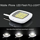 Santech Branded Selfie Flash Light White : 3.5mm Pin Jack 16 LED Flash Light With Three Levels Of Brightness To... - B01DXTTZ0U