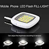 Santech Branded Selfie Flash Light White : 3.5mm Pin Jack 16 LED Flash Light With Three Levels Of Brightness To...