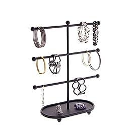 Bracelet Holder Tree Stand Jewelry Organizer Rack Display - Angelynn\'s Jewelry Organizers (Amy Black)
