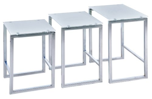 Premier Housewares Nest of Tables with White Tempered Glass Top and Chrome Legs, Set of 3, 50 x 30 x 40 cm