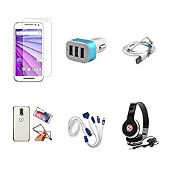 High Quality Combo of Moto G3 Temper Glass + Car Charger 3 USB + USB Data Cable + Attractive Back Cover (Transparent Back with Golden Border) + 4 in 1 USB Charging Cable