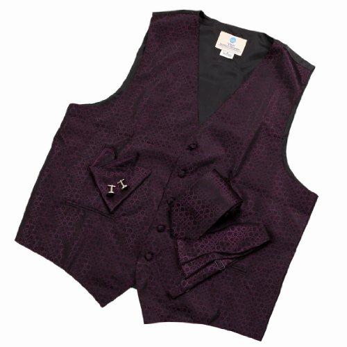 VS1032 Purple Polka Dots Mens Gifts Vest Tie Cufflinks Hanky Bowtie By Y&G