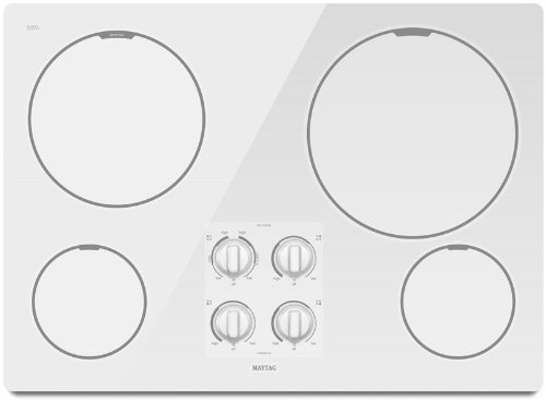 Maytag MEC7430WW 30 Smoothtop Electric Cooktop, 4 Radiant Elements - White