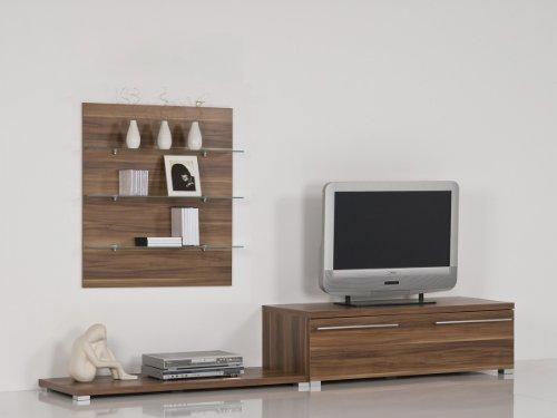 TV-Center, TV-Tisch Nußbaum oder Weiß, Farbe:Nussbaum