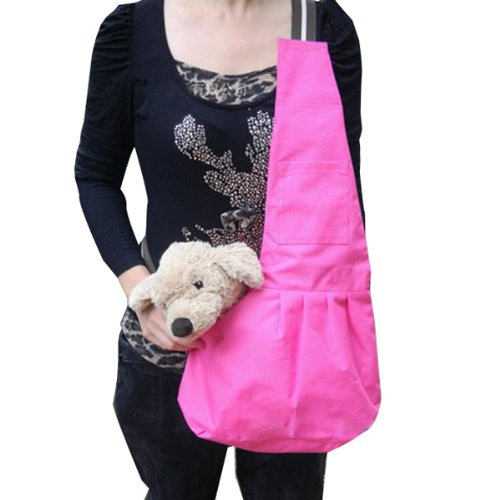 Portable Pink Sling Pet Carrier Canvas Bag Dogs Messenger Bag