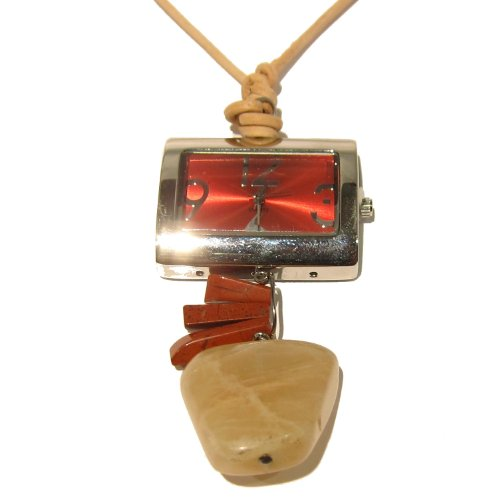 Watch Necklace 01 Red Jasper Peach Moonstone Crystal Healing Silver Tan Leather Stone Gem Adjustable