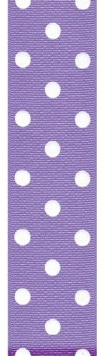 Offray Polka Dot Grosgrain Craft Ribbon, 1-1/2-Inch Wide by 50-Yard Spool, Bright Purple