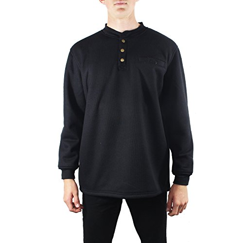 Maxxsel Mens Long Sleeve Thermal 3 Button Down Henley Sherpa Heavy Lined Shirt (X-Large, Black) (Thermal Pocket compare prices)