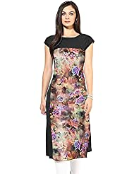New Black And Multi Color Flower Digital Printe Crepe Tunic Tops Party Wear Kurti