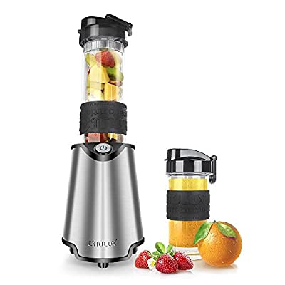 CHULUX 300W Personal Blender Stainless Steel with 2 BPA-Free Tritan Sport Bottles (20 Oz + 14 Oz),Anti-scalding and Anti-slip Silicone Grip