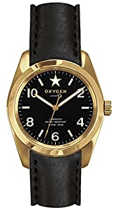 OXYGEN Lingot 38 unisex quartz Watch with black Dial analogue Display and black leather Strap EX-S-LIN-38-CL-BL