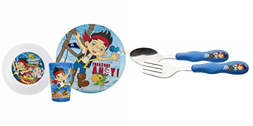 Zak Designs Jake and the Neverland Pirates 3-Piece Dinnerware and Flatware Set - 1