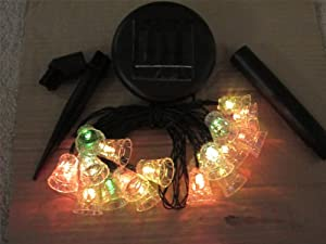 Theluckleds Solar jingle bell 20LED light RGB outdoor garden patio Lawn String party-color box