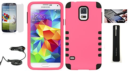 Samsung Galaxy S5 Protective Cover 2 Layer Case With Car Charger, Screen Protector, Momiji® Stylus Pen (Hot Pink) front-588546