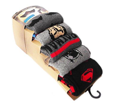 Confezione da 5paia di calze da uomo Ragazzi Batman v Superman Black/BatmanvsSuperman Design Dimensione 43-47