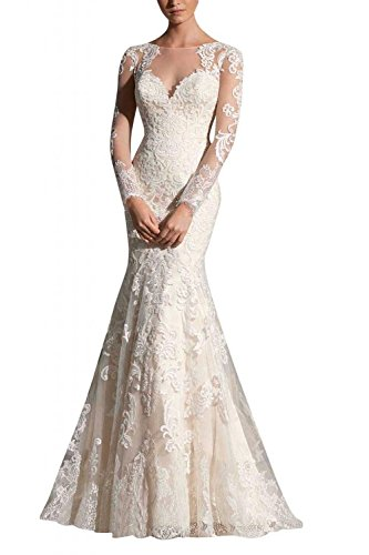 cb2f668f ALfany Women's Grace Illusion Neck Long Sleeves Mermaid Floral Wedding  Dresses US6