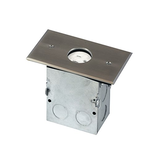 TOPGREENER 705547-S Single Gang Receptacle Floor Box, With 20A Tamper Resistant Single Receptacle - UL Listed, Stainless Steel