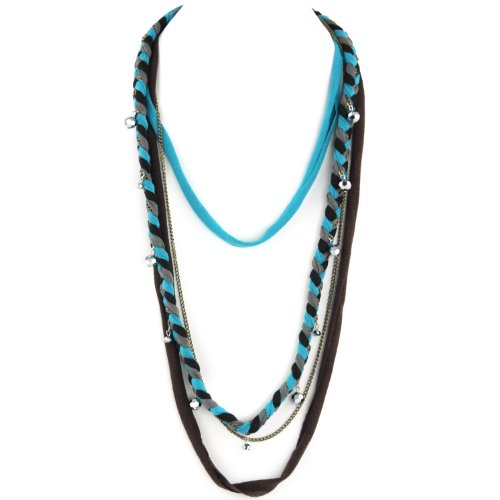 Soft Braided Fabric Layered Necklace - Crystal Cut Shimmery Beads - Brass Chain Link - Gray Black Turquoise & Brown