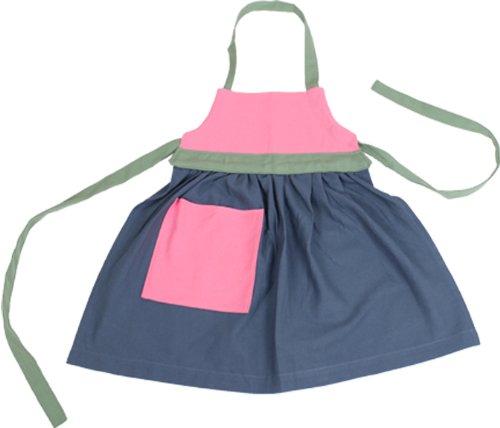 Camden Rose Childs Colorblock Apron, Organic Cotton, (ages 5-8), Blue Skirt