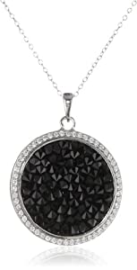 Sterling Silver Genuine Swarovski Elements Black Crystal Rock and Cubic Zirconia Border Pendant Necklace, 18