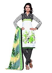 SayShopp Fashion Women's Unstitched Regular Wear Cotton Printed Salwar Suit Dress Material (ZDM-14_White,Black,Green_Free Size)