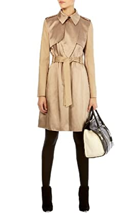 Satin fabric mix trench coat