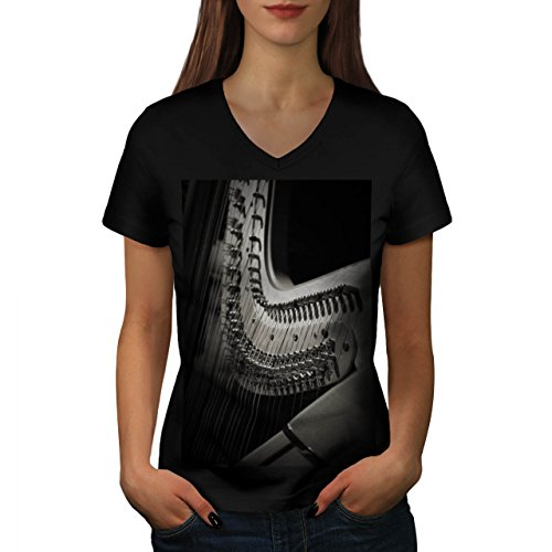 Musik-Instrument-Arfa-Damen-NEU-Schwarz-S-2XL-T-shirt-Wellcoda